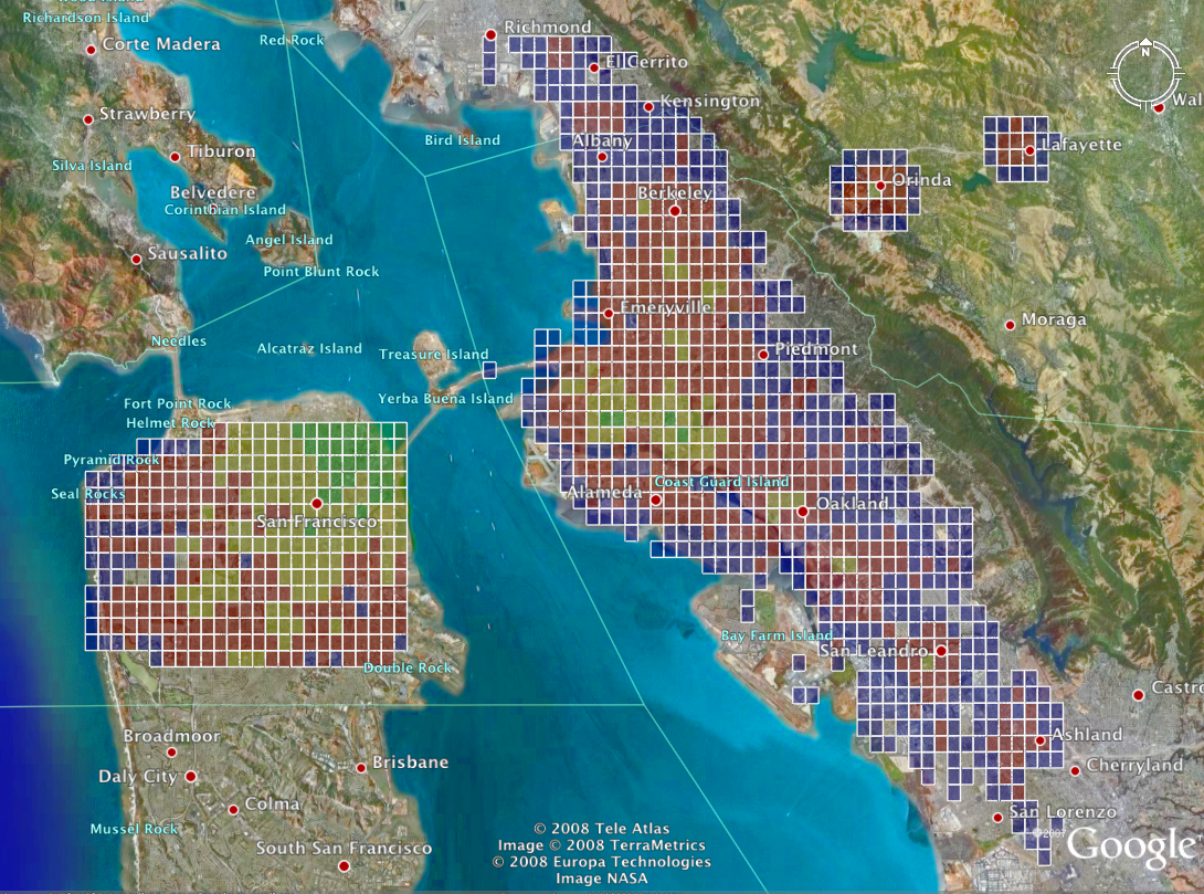 Heatmap of San Francisco, Oakland, and Berkeley, colored by transit time to Flickr offices